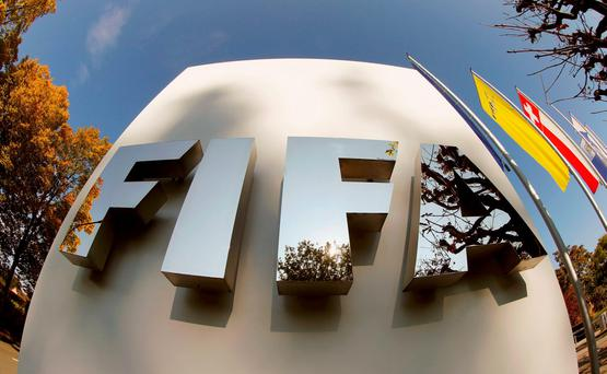 FIFA's logo is seen at its headquarters in Zurich, Switzerland October 3, 2015. REUTERS/Arnd Wiegmann