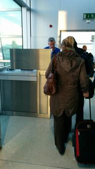 Michael O'Leary checking passengers in.