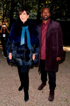 Kris Jenner and Corey Gamble attend the Elie Saab show as part of the Paris Fashion Week Womenswear Spring/Summer 2016 on October 3, 2015 in Paris, France. (Photo by Pascal Le Segretain/Getty Images)