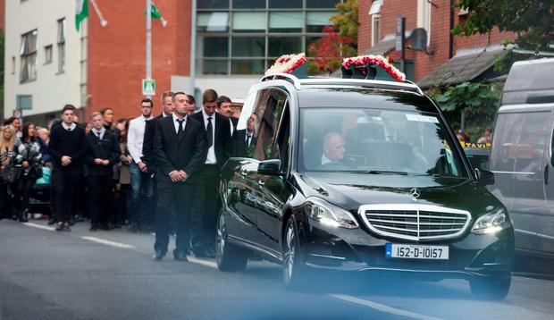 The Funeral of Gary Hutch at The CHurch of Our Lady of Lourdes, Sean McDermott St today.