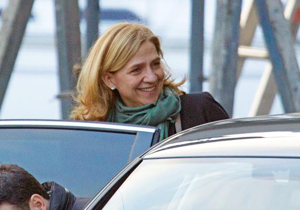 Princess Cristina is seen leaving a restaurant after meeting her father King Juan Carlos at Nautical Club on March 17, 2015 in Barcelona, Spain. (Photo by Europa Press/Europa Press via Getty Images)