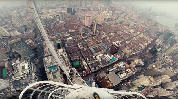 The video was posted to a website belonging to a pair of urban climbs who last scaled the world's second tallest building Credit: Youtube