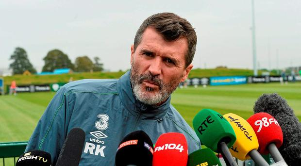 Republic of Ireland assistant manager Roy Keane during a press briefingtoday in Abbotstown