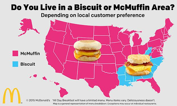 The geographical breakdown of the all-day menu Credit: McDonald's