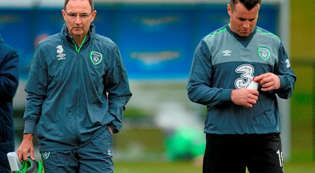 Republic of Ireland manager Martin O'Neill and Shay Given, during squad training. Republic of Ireland Squad Training, FAI National Training Centre, National Sports Campus, Abbotstown, Dublin. Picture credit: David Maher / SPORTSFILE