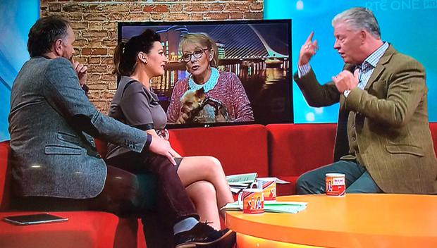 Twink with medium Derek Acorah on RTE's Today Show with Daithi O Se and Maura Derrane Pic: RTE