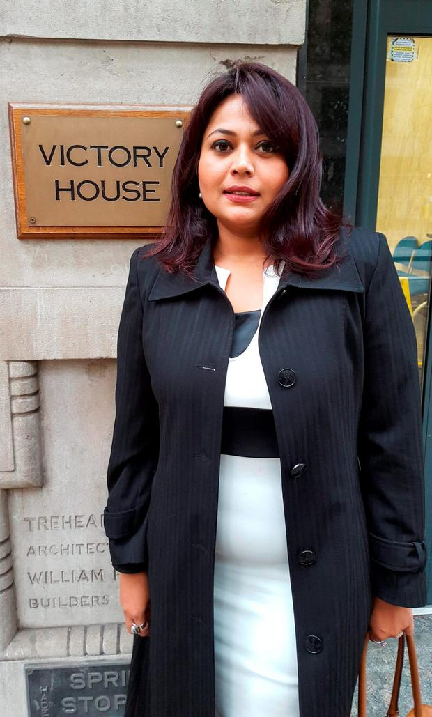 Shreya Ukil outside Victory House in London, as a tribunal heard that the senior businesswoman was told by her IT firm boss that she looked like a