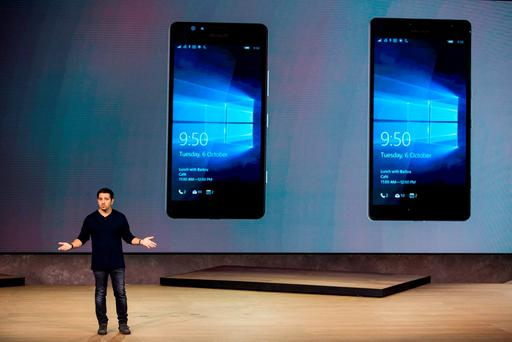 NEW YORK, NY - OCTOBER 06: Microsoft Corporate Vice President Panos Panay introduces the Microsoft Lumia 950 and Lumia 950 XL at a media event for new Microsoft products on October 6, 2015 in New York City. (Photo by Andrew Burton/Getty Images)