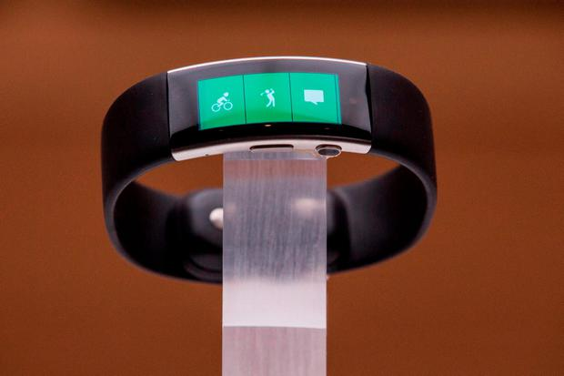 NEW YORK, NY - OCTOBER 06: A new biometrics wrist band titled the Microsoft Band 2 sit on display at a media event for new Microsoft products on October 6, 2015 in New York City. (Photo by Andrew Burton/Getty Images)