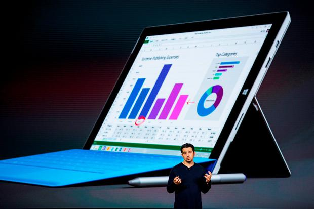 NEW YORK, NY - OCTOBER 06: Microsoft Corporate Vice President Panos Panay introduces a new tablet titled the Microsoft Surface Pro 4 at a media event for new Microsoft products on October 6, 2015 in New York City. (Photo by Andrew Burton/Getty Images)