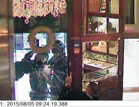 Still from CCTV footage of the raid at Windsor Bishop jewellers in Norwich Credit: Norfolk Police/PA Wire