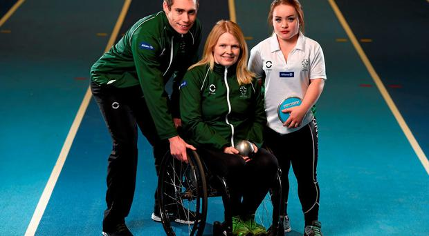 Jason Smyth, Deirdre Mongan, and Niamh McCarthy at the announcement of the nine-strong Irish team for the upcoming IPC Paralympic Athletics World Championships in Doha, Qatarer