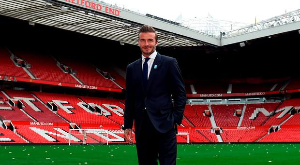 David Beckham at Old Trafford to launch the Unicef Match for Children, which will be played on Saturday, November 14 (3.00) when Alex Ferguson will manage a GB and Ireland XI against a World XI led by Zinedine Zidane