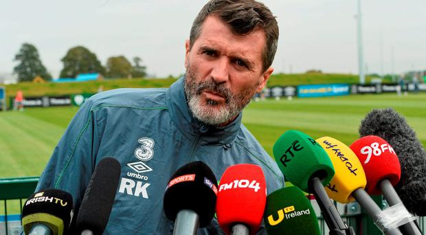 Roy Keane answers questions at a press conference in Abbotstown yesterday