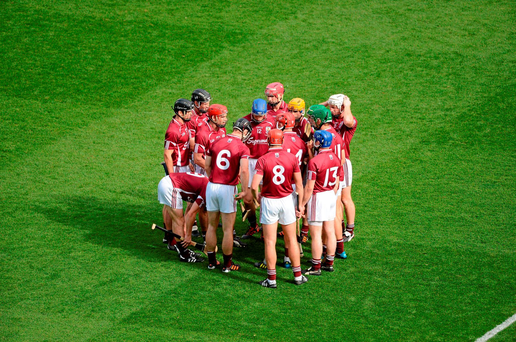 Galway players in a huddle prior to the 2012 All-Ireland final