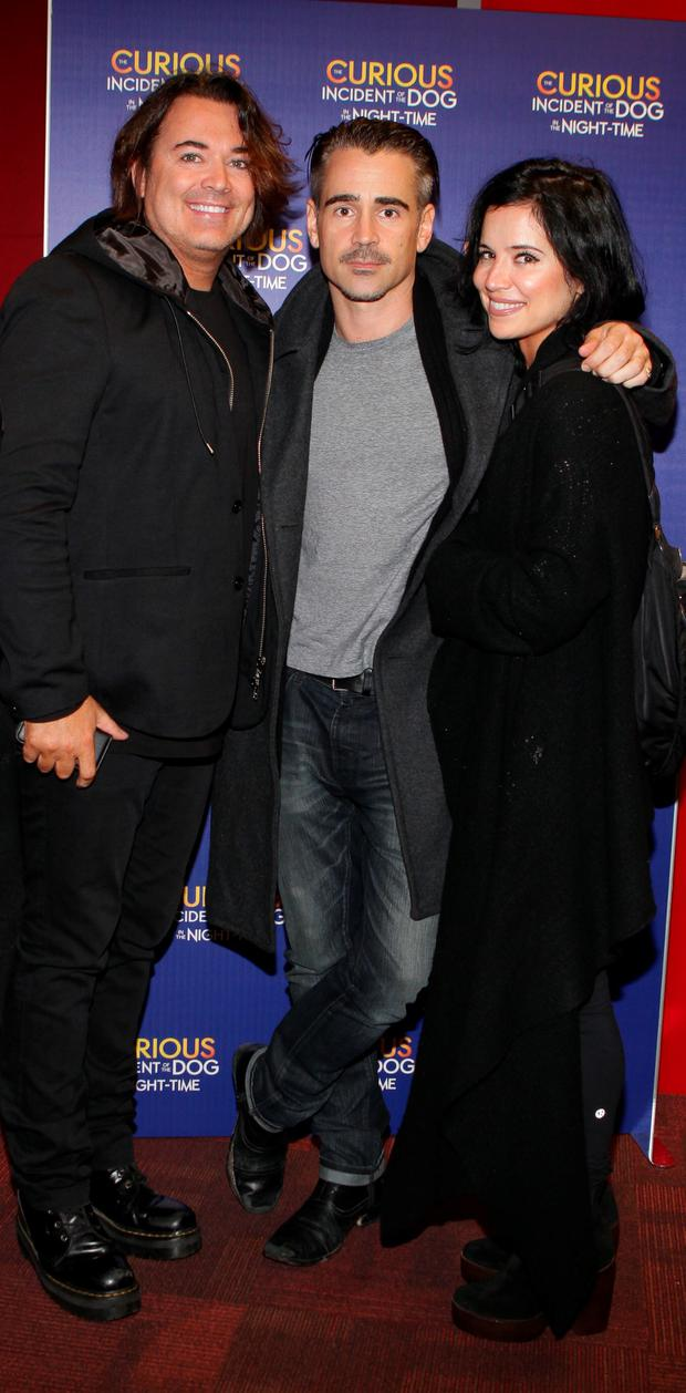(L to R) Eamon Farrell, Colin Farrell and Claudine Farrell were among a host of well known faces who stepped out tonight for the opening night of National Theatres multi award-winning production of The Curious Incident of the Dog in the Night at The Bord Gais Theatre. Picture: Brian McEvoy