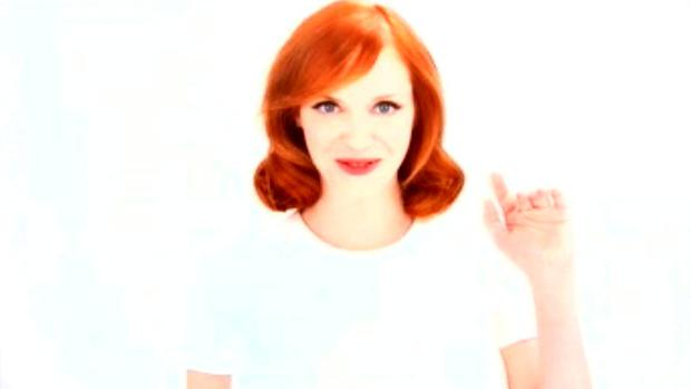 Undated handout photo issued by the Advertising Standards Authority of an advert for hair dye featuring Mad Men star Christina Hendricks which has been banned for misleadingly exaggerating the product's ability to transform her red hair to blonde