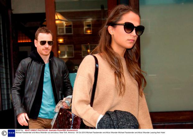 Michael Fassbender and Alicia Vikander out and about, New York, America - 05 Oct 2015.Photo by Startraks Photo/REX Shutterstock