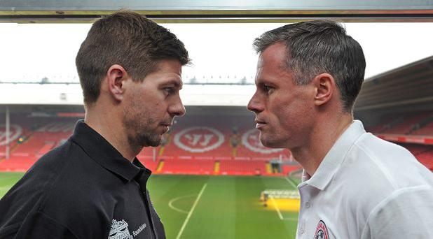 Steven Gerrard and Jamie Carragher of Liverpool