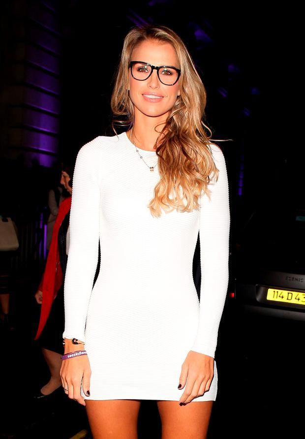 Vogue Williams attending the Specsavers 'Spectacle Wearer of the Year' party on October 6, 2015 in London, England. (Photo by Mark Robert Milan/GC Images)