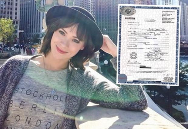 Cathriona White with her marriage certificate (inset)