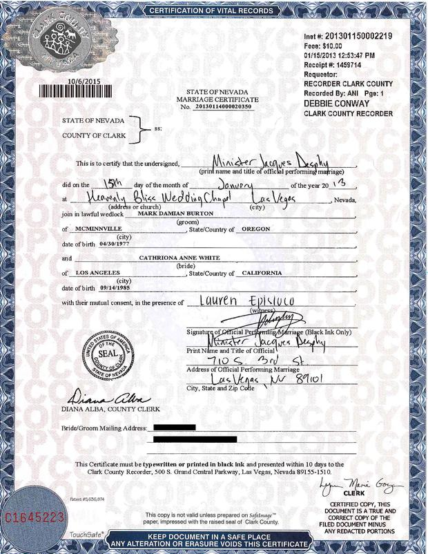 This is the marriage certificate for Cathriona White and cameraman Mark Burton. Picture: Splash News