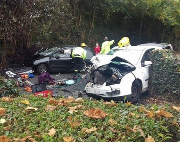 The scene of the collision on Kiltipper Road in Tallaght yesterday