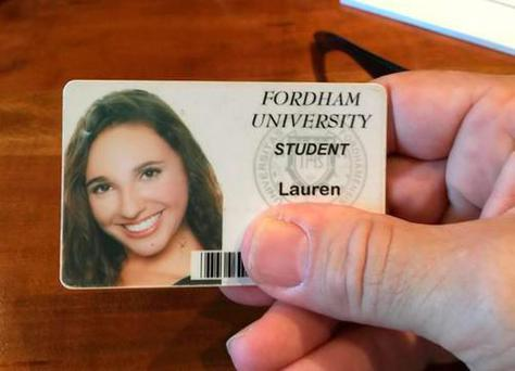 Tom Hanks tweeted this photo of student Lauren Whitmore's ID card
