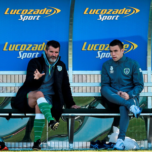 Ireland assistant manager Roy Keane with Seamus Coleman