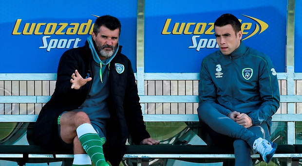 Ireland assistant manager Roy Keane wiith Seamus Coleman during squad training. Republic of Ireland Squad Training, FAI National Training Centre, National Sports Campus, Abbotstown, Dublin. Picture credit: David Maher / SPORTSFILE