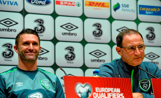 Ireland manager Martin O'Neill and Robbie Keane during a press conference