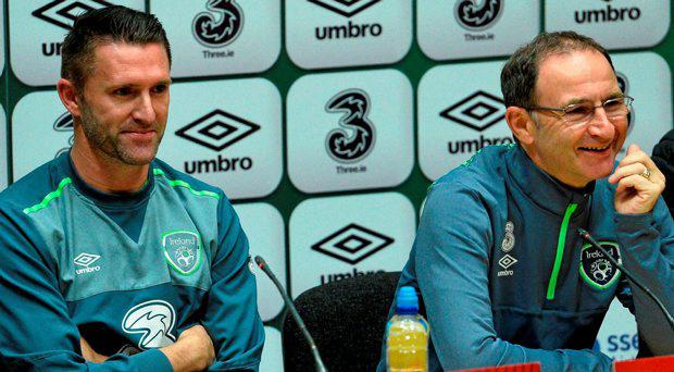 7 October 2015; Republic of Ireland manager Martin O'Neill and Robbie Keane during a press conference. Republic of Ireland Press Conference, FAI National Training Centre, National Sports Campus, Abbotstown