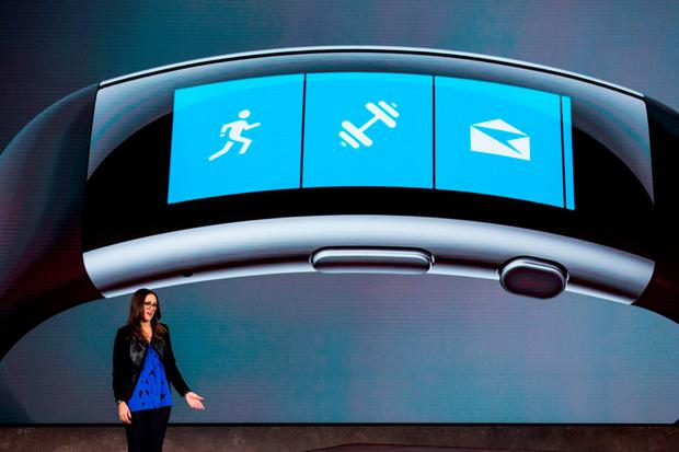 Lindsey Matese introduces the Microsoft Band 2. Photo: Andrew Burton/Getty Images