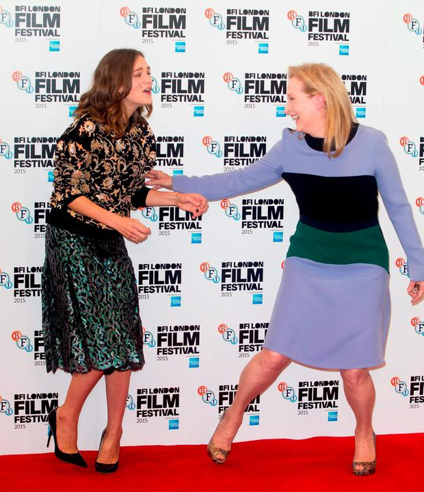 Carey Mulligan (left) and Meryl Streep at a photocall for their new film, Suffragette, at The Lanesborough Hotel, in London Credit: Daniel Leal-Olivas/PA Wire