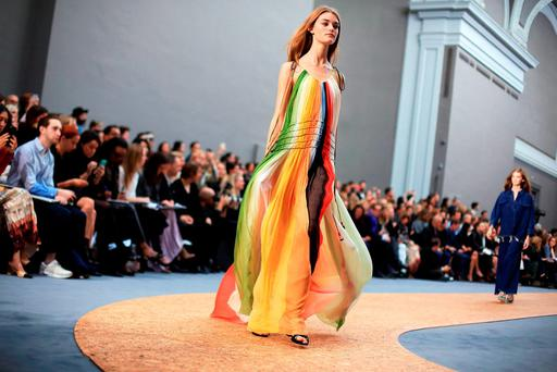 A model wears a creation for Chloe during the Paris Fashion Week 2015.