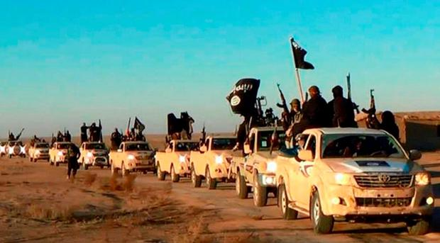 Militants of the Islamic State group hold up their weapons and wave flags as they ride in a convoy, which includes multiple Toyota pickup trucks, through Raqqa city in Syria on a road leading to Iraq. Photo: AP