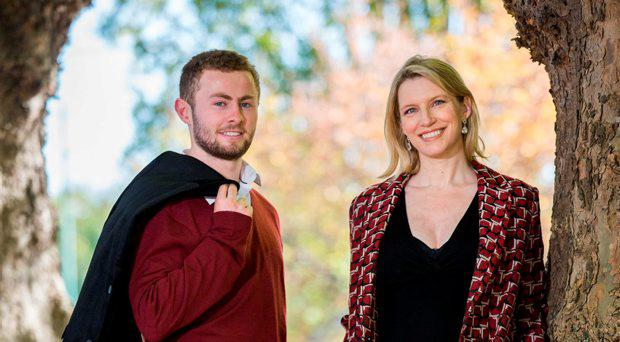 Picture shows GAA Player-of-the-year nominee Jack McCaffrey with stunning TV presenter Pamela Flood to launch The Jonathan Ranson Trust Fashion Show