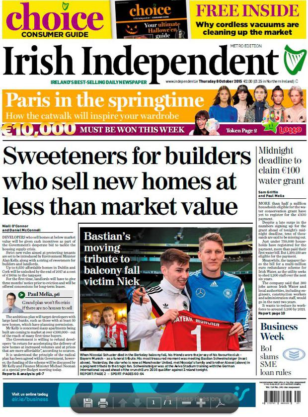 Today's Irish Independent's frontpage