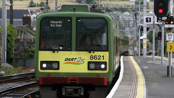 The Dart train hit boulders on the line