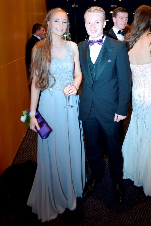 Freya Williams (18) wearing Debenhams and Conor Fitzmaurice (18) at the Holy Child Debs in The Pavillon Leopardstown