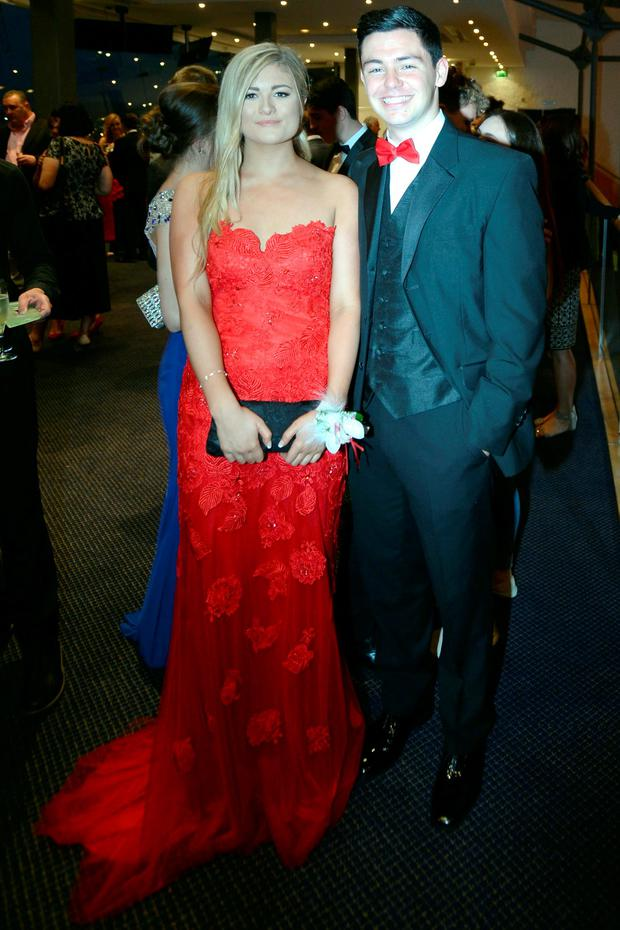 Jennifer O'Duffy (18) wearing a handmade dress and Rob Philips (18) at the Holy Child Debs in The Pavillon Leopardstown