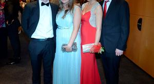 Shane Fenlon (17), Lydia Dodd (18) dress from America, Judy O'Toole (18) wearing Pamela Scott and Cillian Greene (20) at the Holy Child Debs in The Pavillon Leopardstown