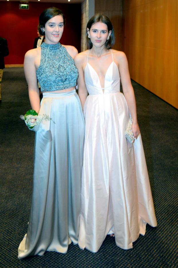 Genevieve Sanne (18) wearing TopShop and Annabel Cleere (18) wearing Sharon Hoey at the Holy Child Debs in The Pavillon Leopardstown