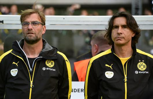 Jurgen Klopp and Zeljko Buvac pictured in May. Getty Images