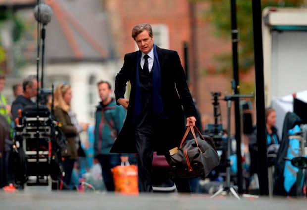 Colin Firth on set in Islington, London, during filming of Bridget Jones's Baby, the third instalment of the Bridget Jones franchise. Anthony Devlin/PA Wire
