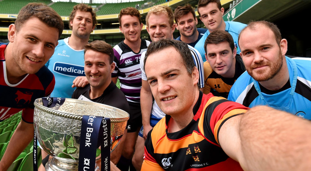 Scott Deasy, from Lansdowne RFC, with the Ulster Bank League Cup and, from left, Ben Reilly, Clontarf, Josh Hrstich, Garryowen, Jonathan Slattery, Old Belvedere, James Blayney, Terenure, James Ryan, Cork Constitution, Paul Pritchard, Ballynahinch, Ger Slattery, Young Munster, Stephen Murphy, UCD and Jarleth Naughten, Galwegians