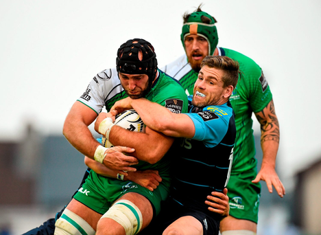 Connacht's John Muldoon is tackled by Cardiff's Gavin Evans on the last day out