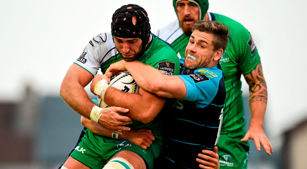 John Muldoon is tackled by Gavin Evans as Connacht take on Cardiff Blues in last season's PRO12. Picture: Sportsfile