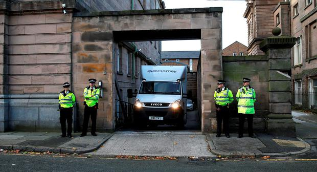 A van believed to carrying Clayton Ronald Williams, 18, arrives at Wirral Magistrates Court, Birkenhead, where he was remanded in custody after appearing at the court accused of the murder of Pc David Phillips Credit: Peter Byrne/PA Wire