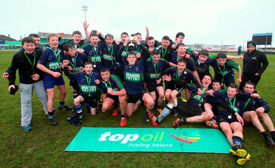 Calasanctius College celebrate their Connacht Schools Junior Development Cup triumph